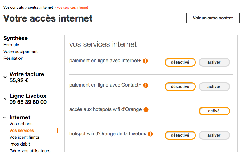 Orange Extra Service Settings