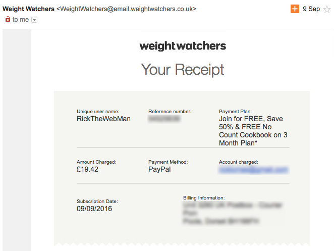 Weight Watchers Receipt 09/09/2016